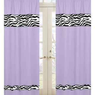Purple Funky Zebra Cotton Window Panel Pair