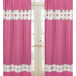 Pink Happy Owl 84-inch Curtain Panel Pair