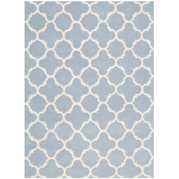 Safavieh Contemporary Handmade Moroccan Blue Wool Area Rug (10' x 14')