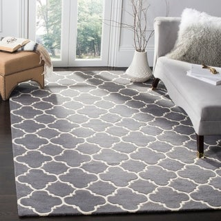 Safavieh Handmade Moroccan Dark Grey Wool Lattice Rug (8'9 x 12')