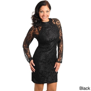 Stanzino Women's Plus Size Lace Overlay Sheath Dress