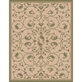 Woven Indoor/ Outoor Patio Rug Antibes Beige and Green Area Rug (4&#39;4 x 6&#39;1)