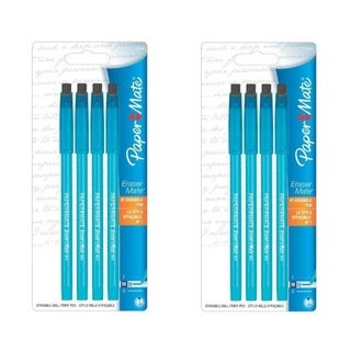Papermate Eraser Mate Blue Medium Point Erasable Pens (Pack of 8)