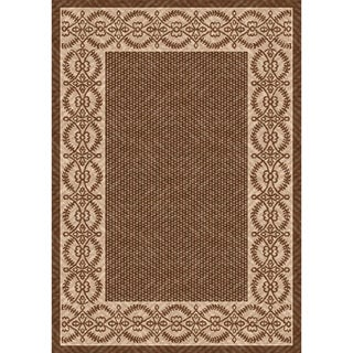 Woven Indoor/ Outoor Patio Rug Barrymore Brown and Beige Area Rug (4'4 x 6'1)