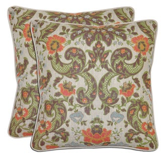 Bella Flower Grand Linen Throw Pillows (Set of 2)