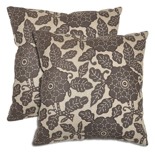 Villa Flower and Leaf Linen Throw Pillows (Set of 2)