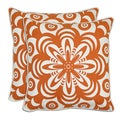Bella Flower Burst Linen Down Throw Pillows (Set of 2)