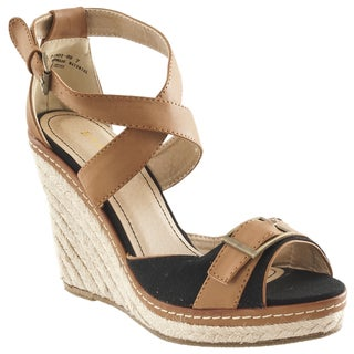 Riverberry Women's 'Pinot' Black Platform Wedge Espadrille Sandals