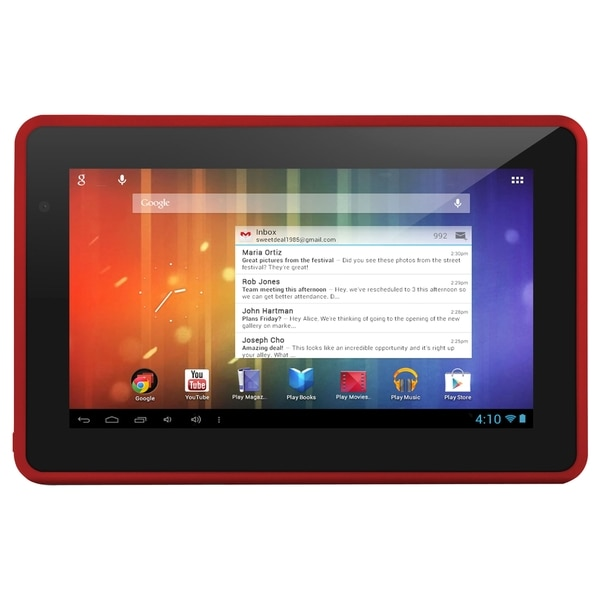 """Ematic Genesis Prime 4 GB Tablet - 7"""" Single-core (1 Core) - Red"""