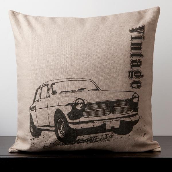Lily Doe Skin Vintage Car Novelty 18x18-inch Decorative Pillow