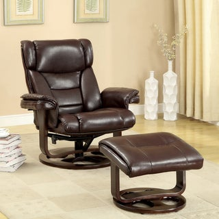 Furniture of America Brown Bonded Leather Swivel Recliner with Ottoman Set