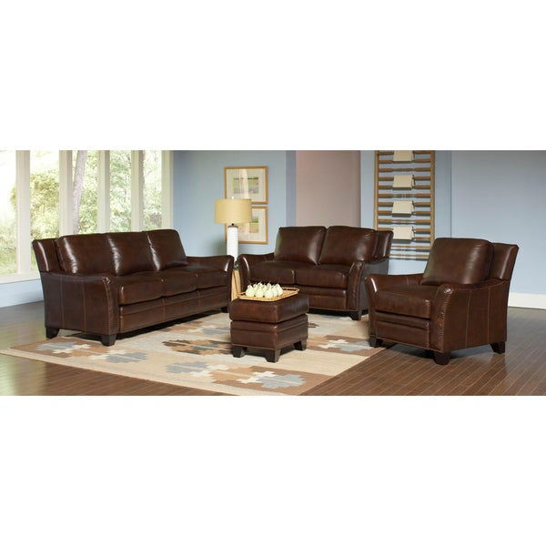 Belfort 4 piece leather sofa set overstock shopping for 6 piece living room furniture sets