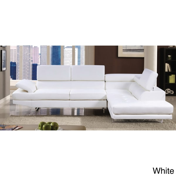 Furniture of America Contemporary 2-piece Sectional with Adjustable Headrest