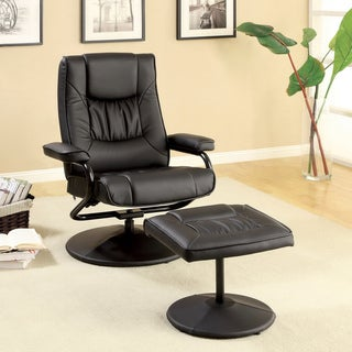 Furniture of America Chic Leatherette Adjustable Swivel Recliner with Ottoman Set