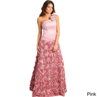 Stanzino Women's One-shoulder Rose Textured Long Gown