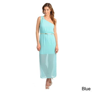 Stanzino Women's Single Shoulder Skinny Belted Maxi Dress