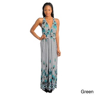 Stanzino Women's Sleeveless Halter Printed Maxi Dress (One Size)