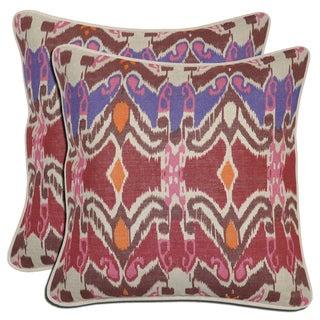 Bella Ikat Linen Multi-color Throw Pillows (Set of 2)