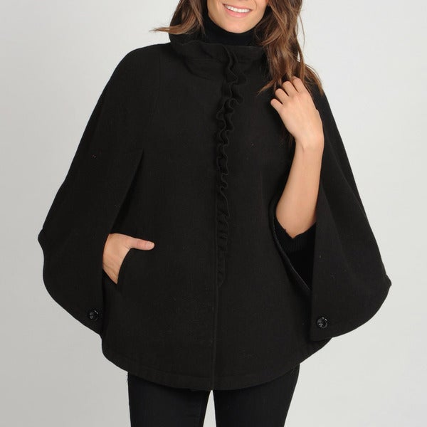 Larry Levine Women's Plus-Size Ruffle Front Cape