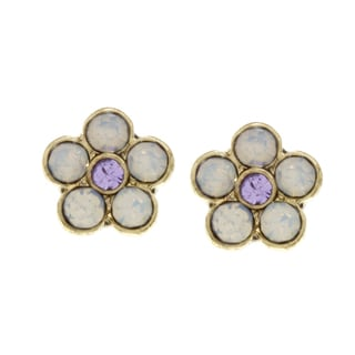 Betsey Johnson Opal Small Flower Stud Earrings