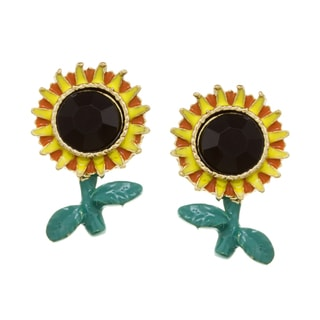 Betsey Johnson Cubic Zirconia Sunflower Stud Earrings