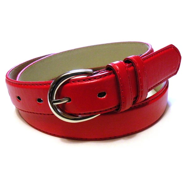 Womens Colored Leather Slim Belt