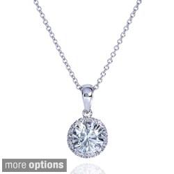 Annello 14k Gold Round Moissanite and 1/10ct TDW Diamond Necklace (G-H, I1-I2)