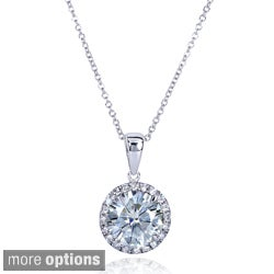 Annello 14k Gold Round Moissanite and 1/6ct TDW Diamond Necklace (G-H, I1-I2)