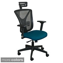 Fully Assembled Executive Mesh Chair with Black Base and Headrest