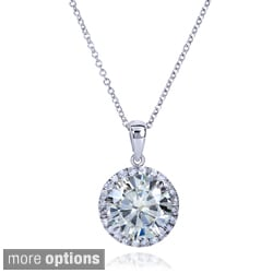 14k Gold Round Moissanite and 1/5ct TDW Diamond Necklace (G-H, I1-I2)