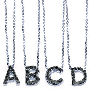 Annello 10k White Gold Black Diamond Accent Mini Initial Letter Necklace