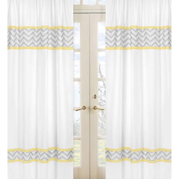 Window Curtains Gray And Yellow: Sweet Jojo Designs Gray, Yellow And White 84-inch Window
