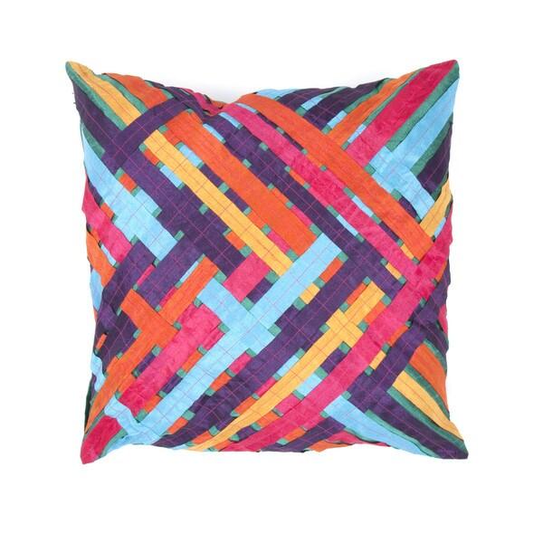 Contemporary Hand-stitched Muliti-color 18-inch Decorative Pillow