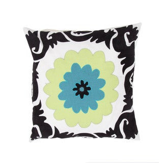 Contemporary Flower Design Cotton Square 18-inch Decorative Pillow