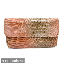 Vecceli Italy Alligator Embossed Clutch