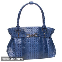 Vecceli Italy Alligator Embossed Belted Shoulder Bag