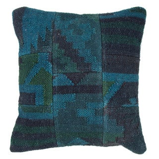 Traditional Wool/ Jute Blue Square 18-inch Pillow