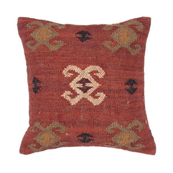 Traditional Wool/ Jute Red/ Orange 18-inch Decorative Pillow