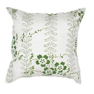 Contemporary Green Square 18-Inch Faux Silk Decorative Pillow