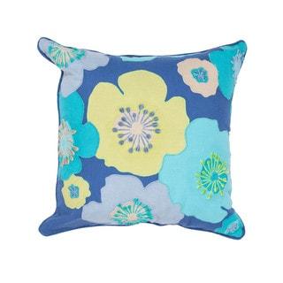 Contemporary Duck Canvas Blue 18-inch Decorative Floral Pillow