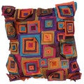 Contemporary Brown/ Red Square 18-inch Decorative Pillow