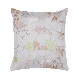 Contemporary Ivory/ Red Square 18-inch Pillow
