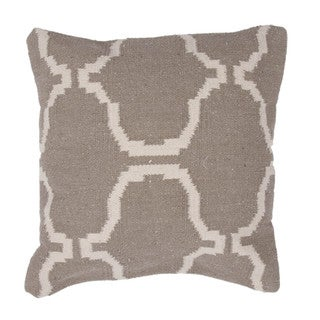 Contemporary Cotton Beige/ Brown Square 18-inch Pillow