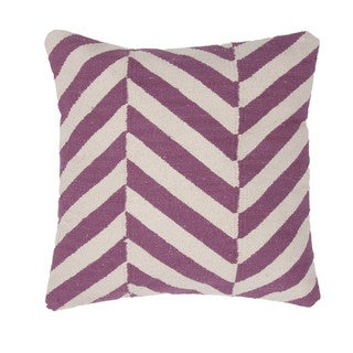 Contemporary Cotton Purple Square 18-inch Pillow