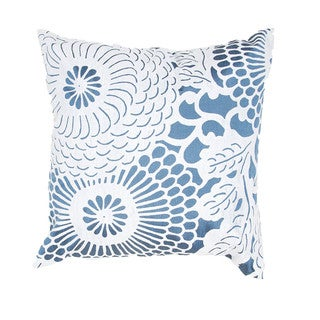 Contemporary Blue/ White Square 18-inch Pillow