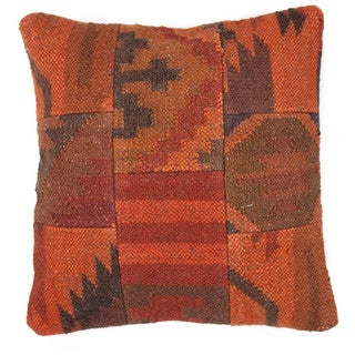 Traditional Wool/ Jute Red/ Orange Square 18-inch Pillow