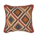Traditional Wool/ Jute Red/ Blue Square 18-inch Pillow