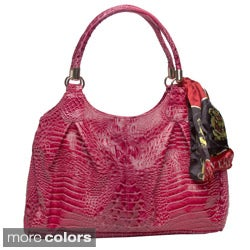 Vecceli Italy Alligator Embossed Shoulder Bag with Three Pockets