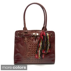 Vecceli Italy Alligator Embossed Satin Shoulder Bag