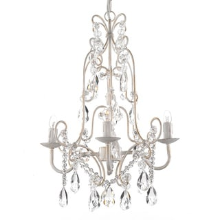 Gallery 4-light Wrought Iron and Crystal Chandelier Hardwire and Plug In